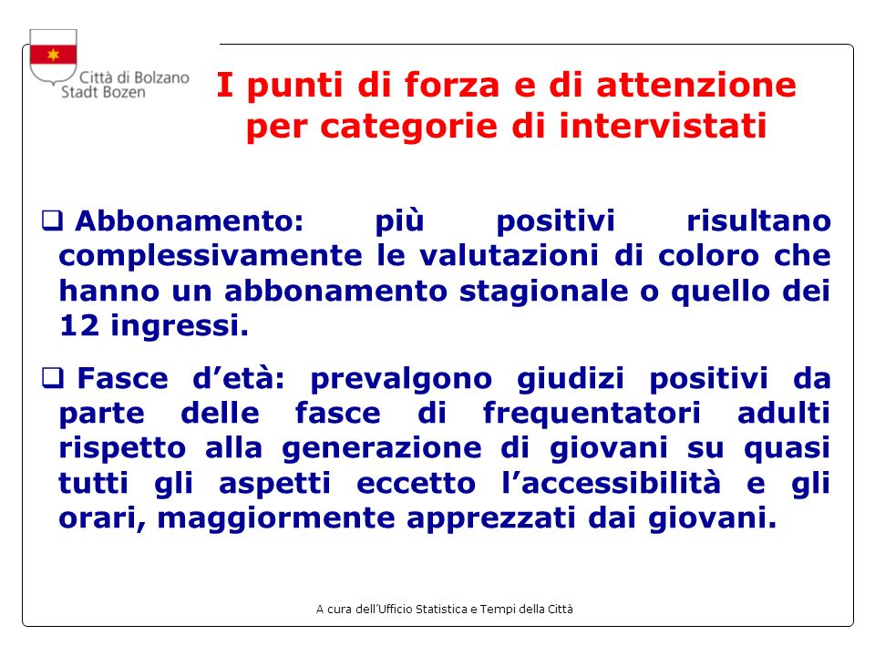 I punti di forza e di attenzione per categorie di intervistati
