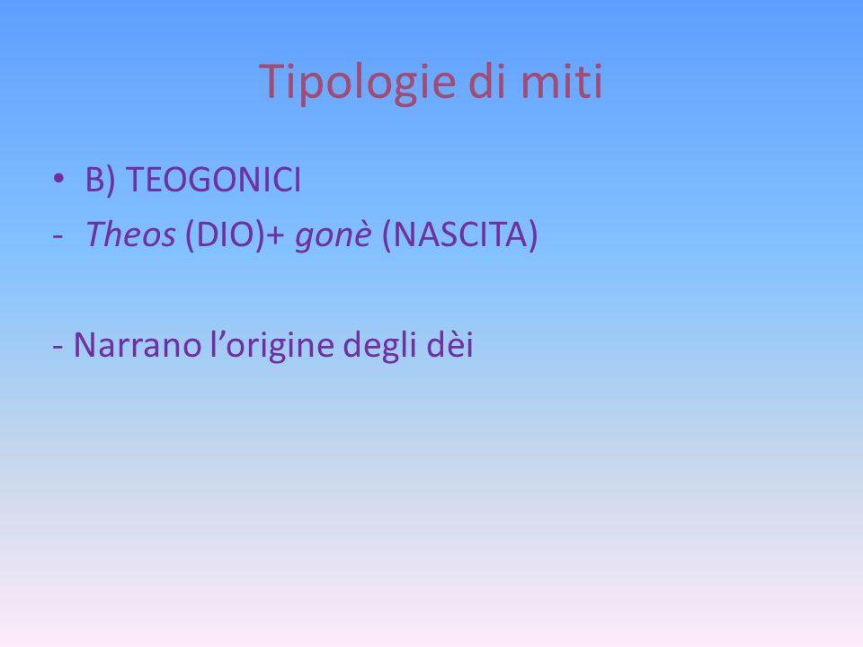 Tipologie di miti B) TEOGONICI Theos (DIO)+ gonè (NASCITA)