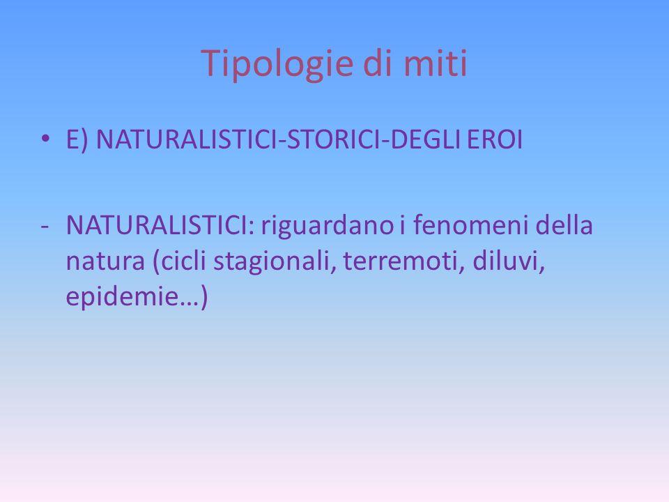 Tipologie di miti E) NATURALISTICI-STORICI-DEGLI EROI