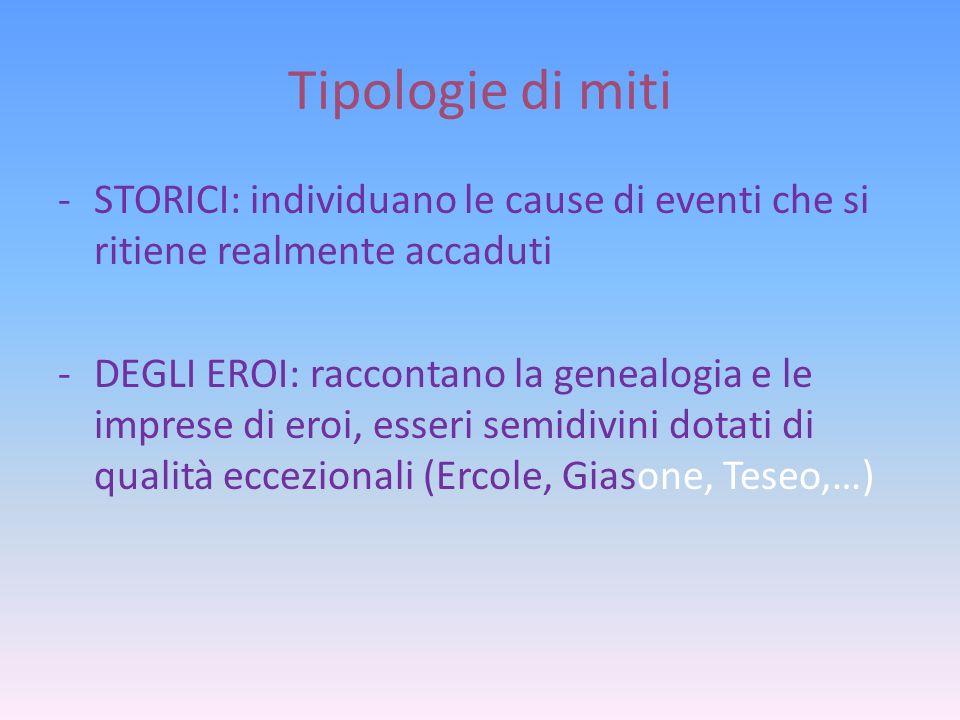 Tipologie di miti STORICI: individuano le cause di eventi che si ritiene realmente accaduti.