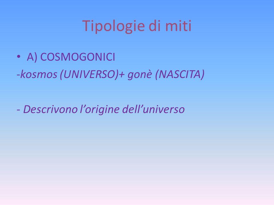 Tipologie di miti A) COSMOGONICI -kosmos (UNIVERSO)+ gonè (NASCITA)