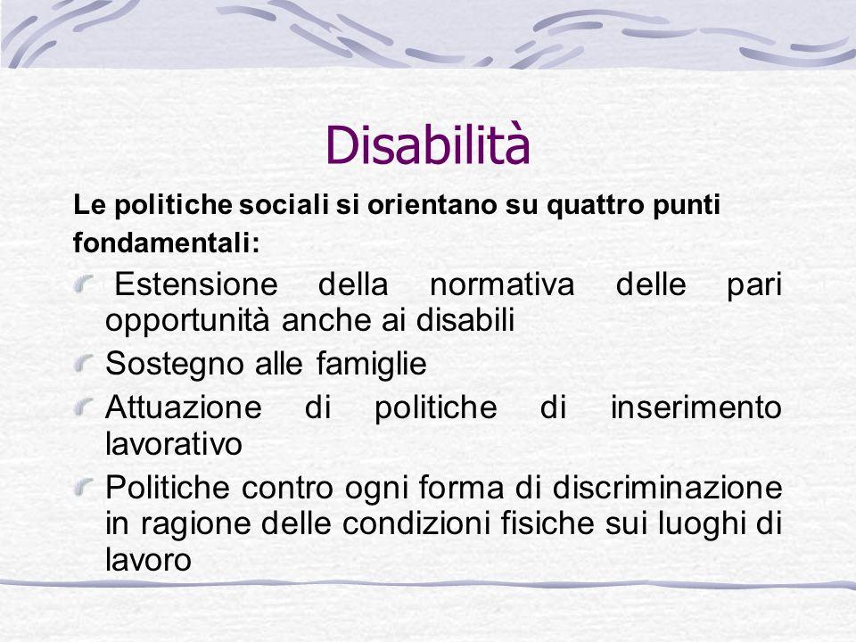 Disabilità Le politiche sociali si orientano su quattro punti. fondamentali: Estensione della normativa delle pari opportunità anche ai disabili.