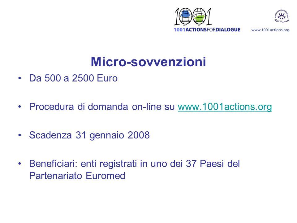 Micro-sovvenzioni Da 500 a 2500 Euro
