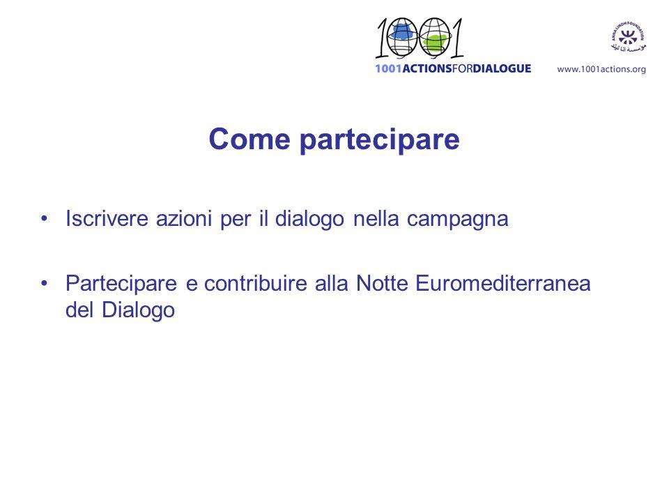 Come partecipare Iscrivere azioni per il dialogo nella campagna