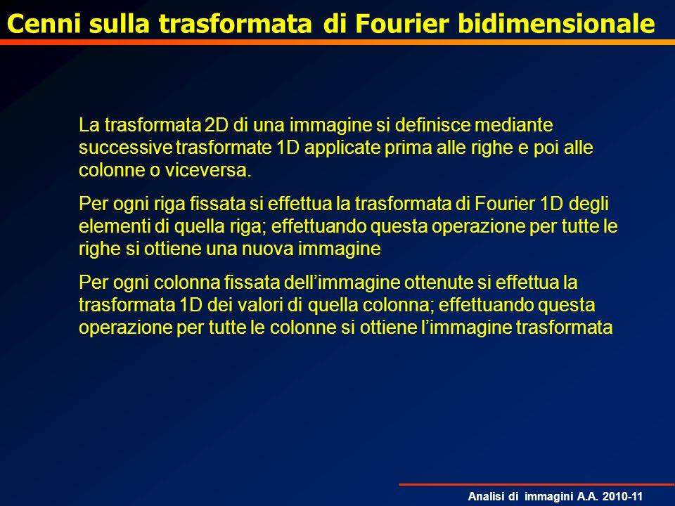 Cenni sulla trasformata di Fourier bidimensionale