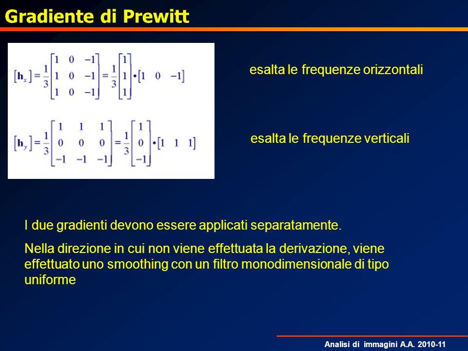 Gradiente di Prewitt esalta le frequenze orizzontali