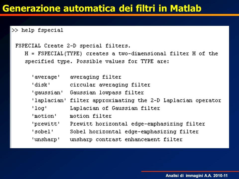 Generazione automatica dei filtri in Matlab