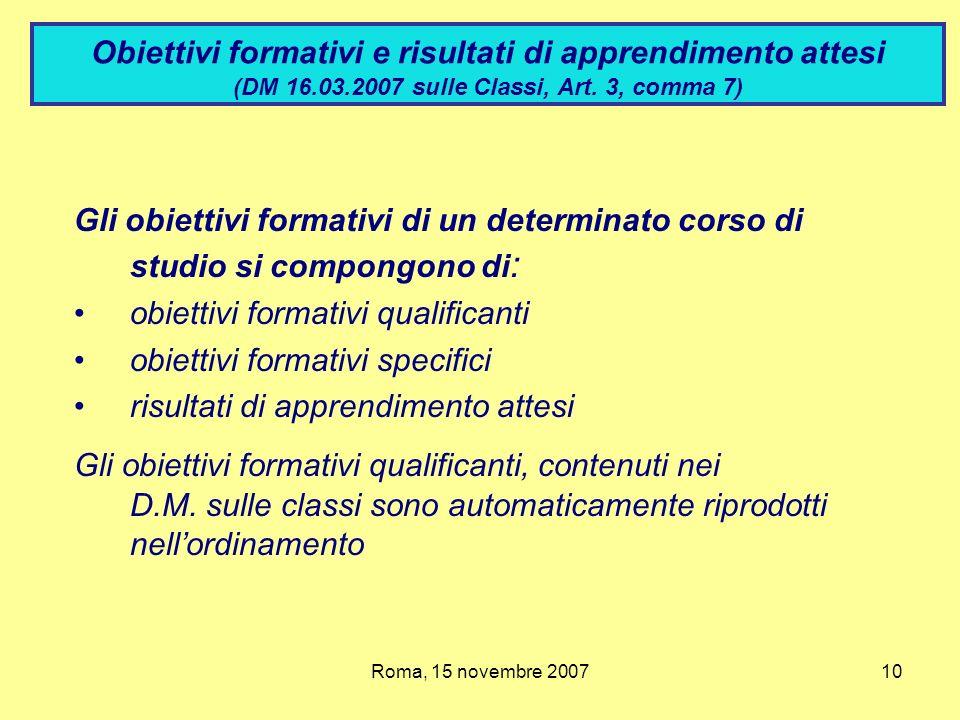 Obiettivi formativi e risultati di apprendimento attesi (DM 16. 03
