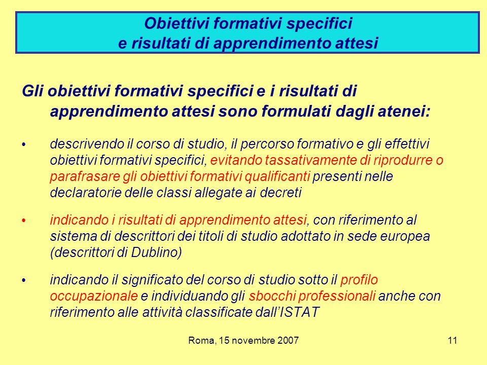 Obiettivi formativi specifici e risultati di apprendimento attesi