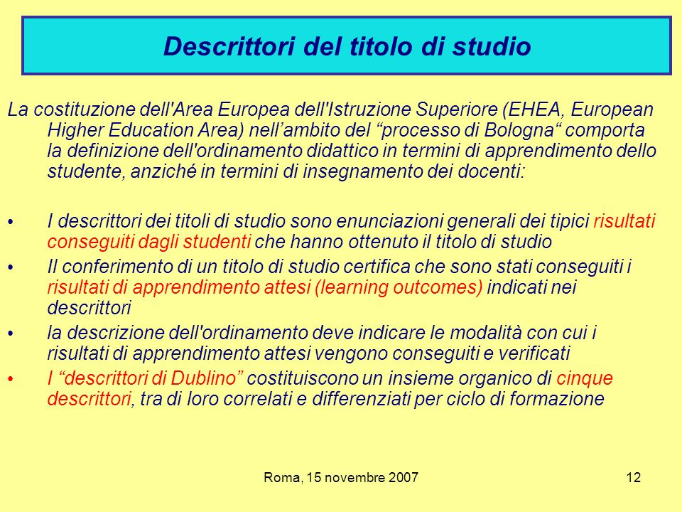 Descrittori del titolo di studio
