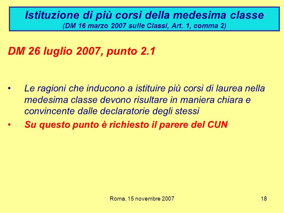 Istituzione di più corsi della medesima classe (DM 16 marzo 2007 sulle Classi, Art. 1, comma 2)