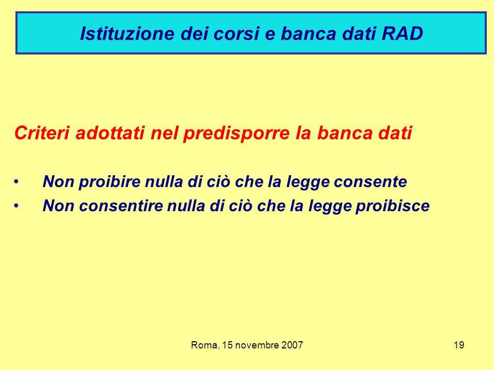 Istituzione dei corsi e banca dati RAD