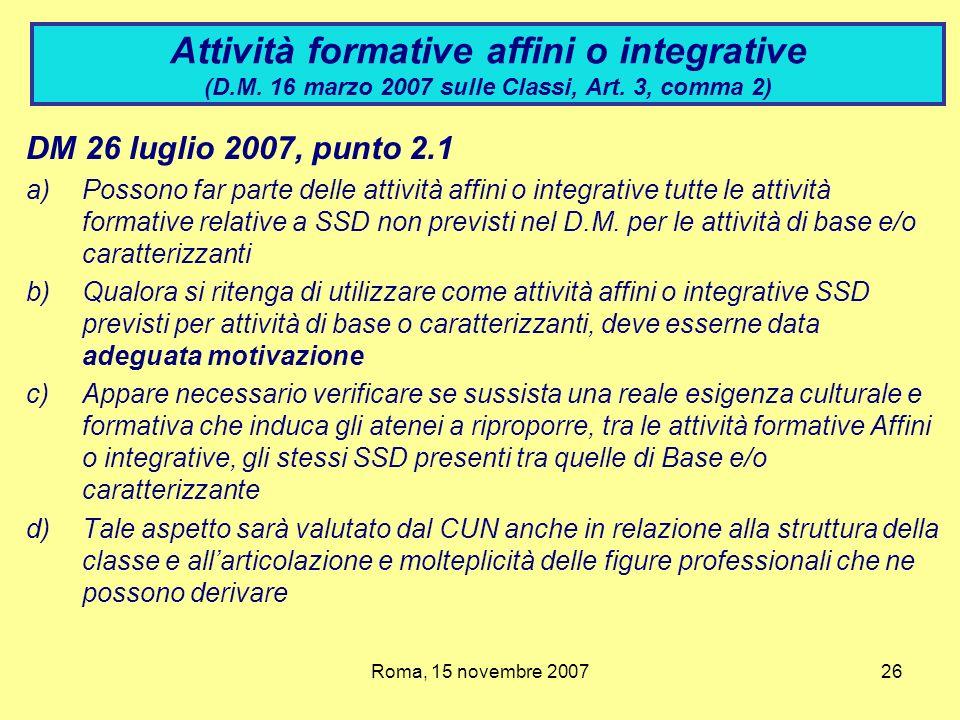 Attività formative affini o integrative (D. M