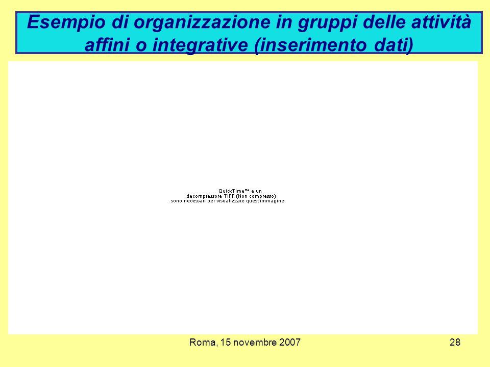 Esempio di organizzazione in gruppi delle attività affini o integrative (inserimento dati)