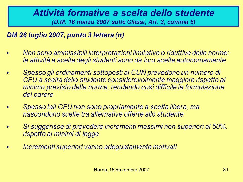 Attività formative a scelta dello studente (D. M