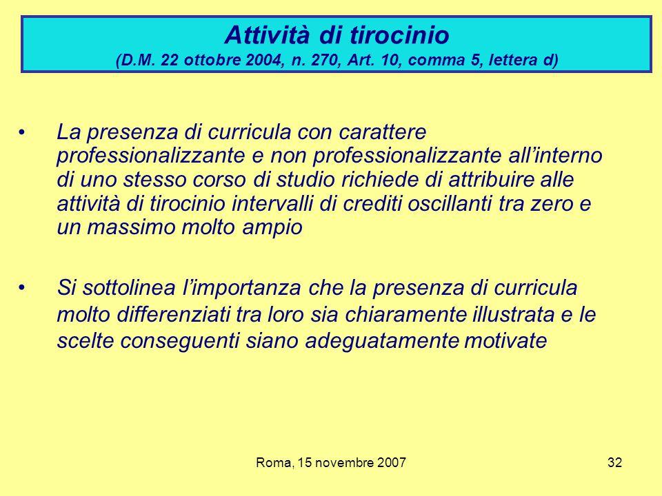 Attività di tirocinio (D. M. 22 ottobre 2004, n. 270, Art