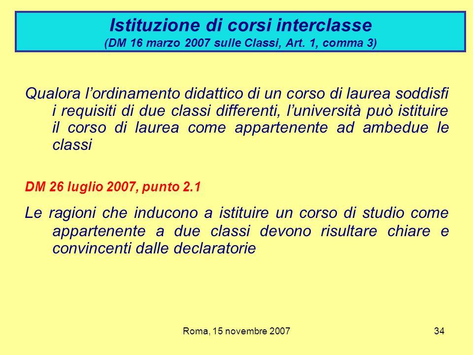 Istituzione di corsi interclasse (DM 16 marzo 2007 sulle Classi, Art