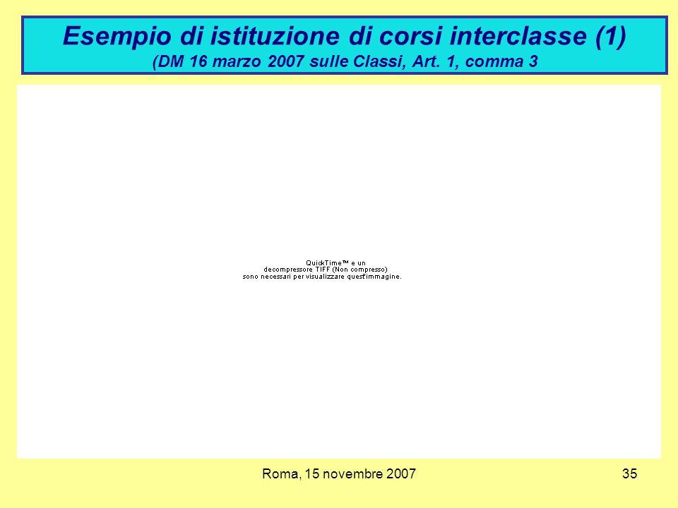 Esempio di istituzione di corsi interclasse (1) (DM 16 marzo 2007 sulle Classi, Art. 1, comma 3