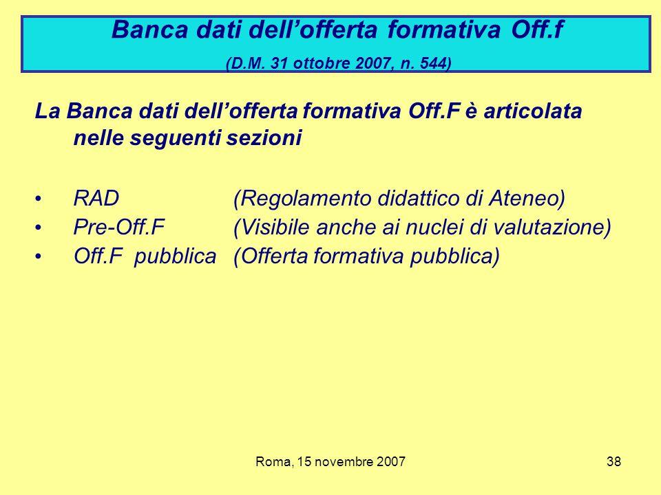 Banca dati dell'offerta formativa Off.f (D.M. 31 ottobre 2007, n. 544)