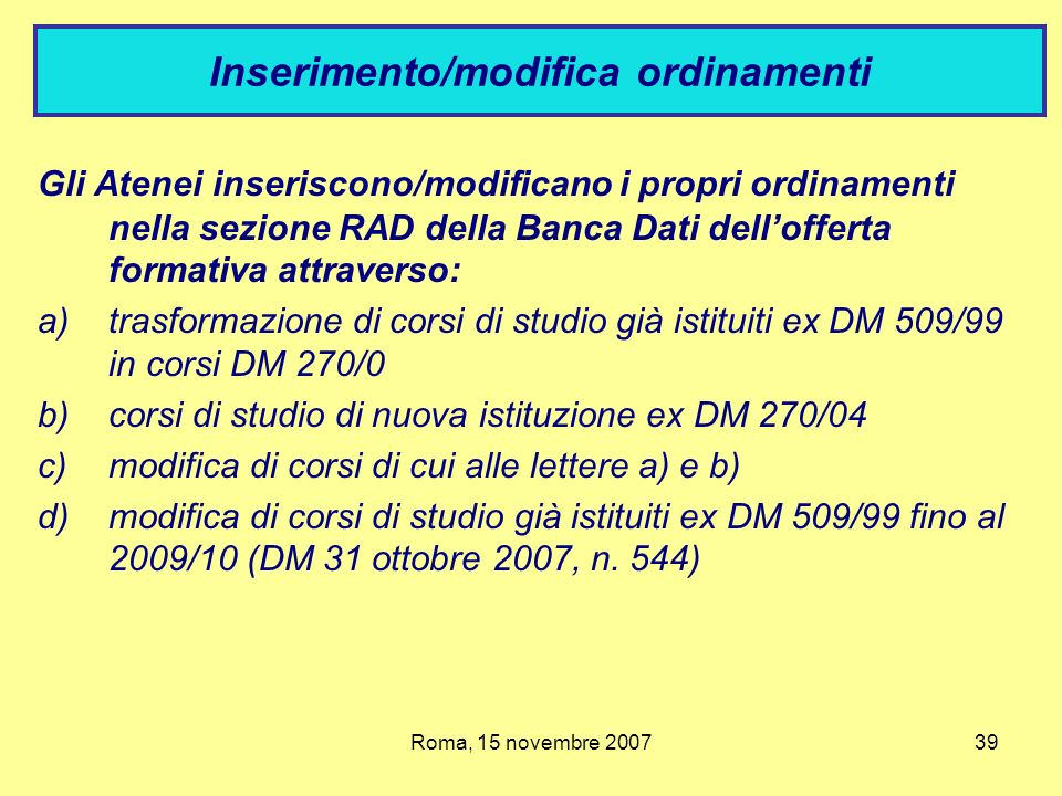 Inserimento/modifica ordinamenti