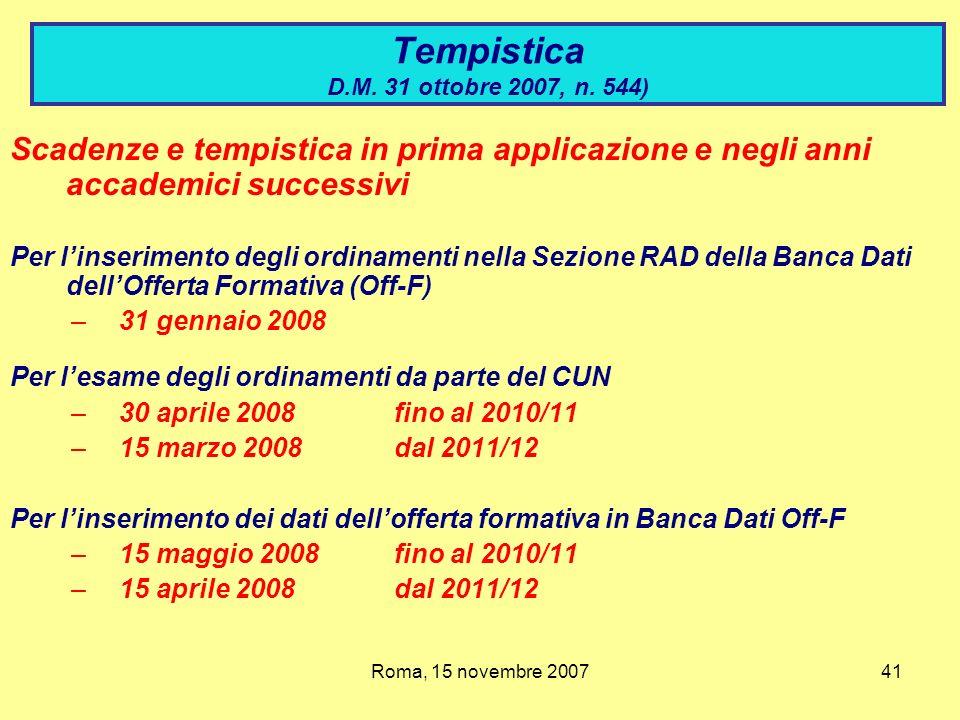 Tempistica D.M. 31 ottobre 2007, n. 544)