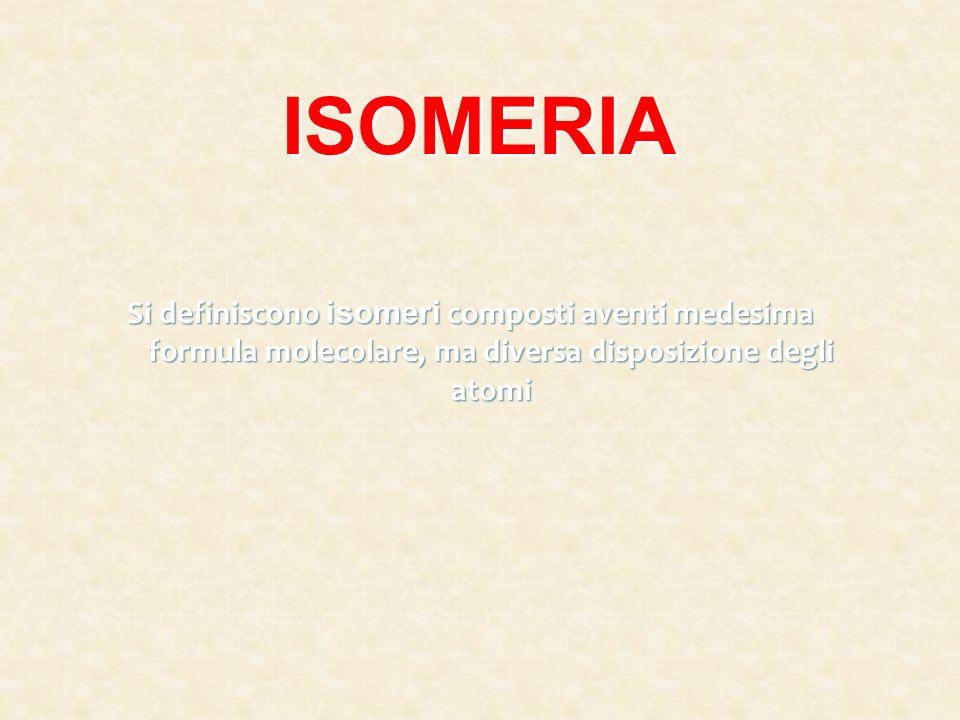 ISOMERIASi definiscono isomeri composti aventi medesima formula molecolare, ma diversa disposizione degli atomi.
