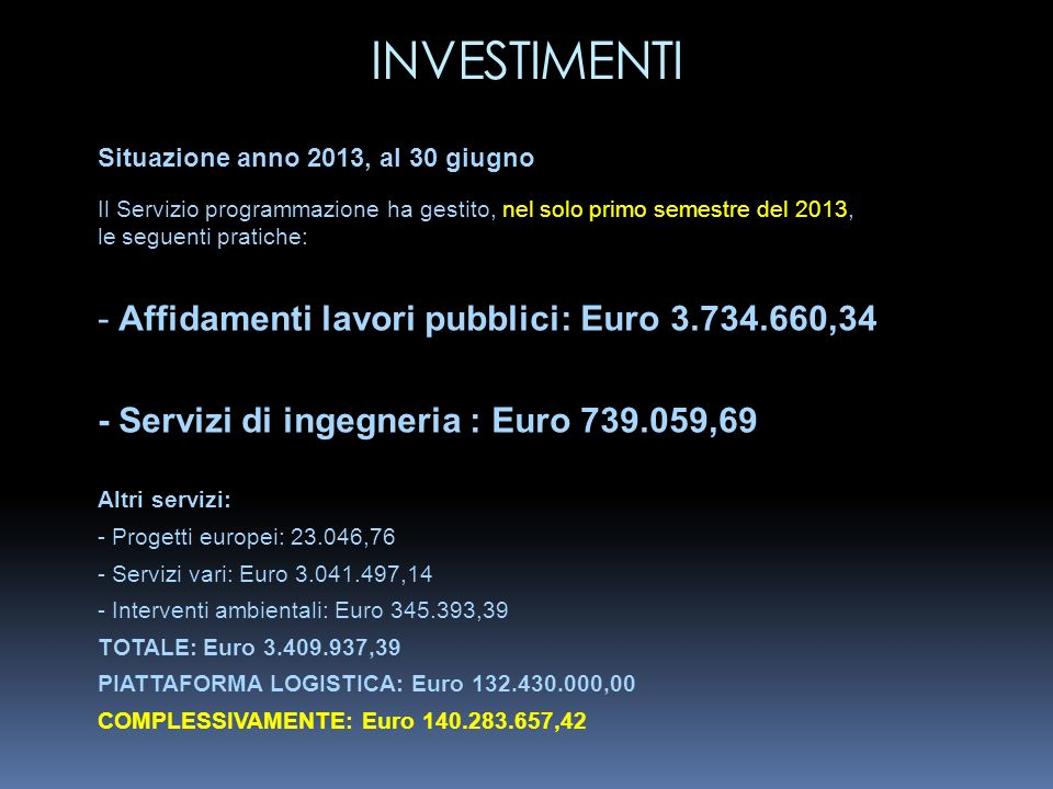 INVESTIMENTI - Affidamenti lavori pubblici: Euro 3.734.660,34