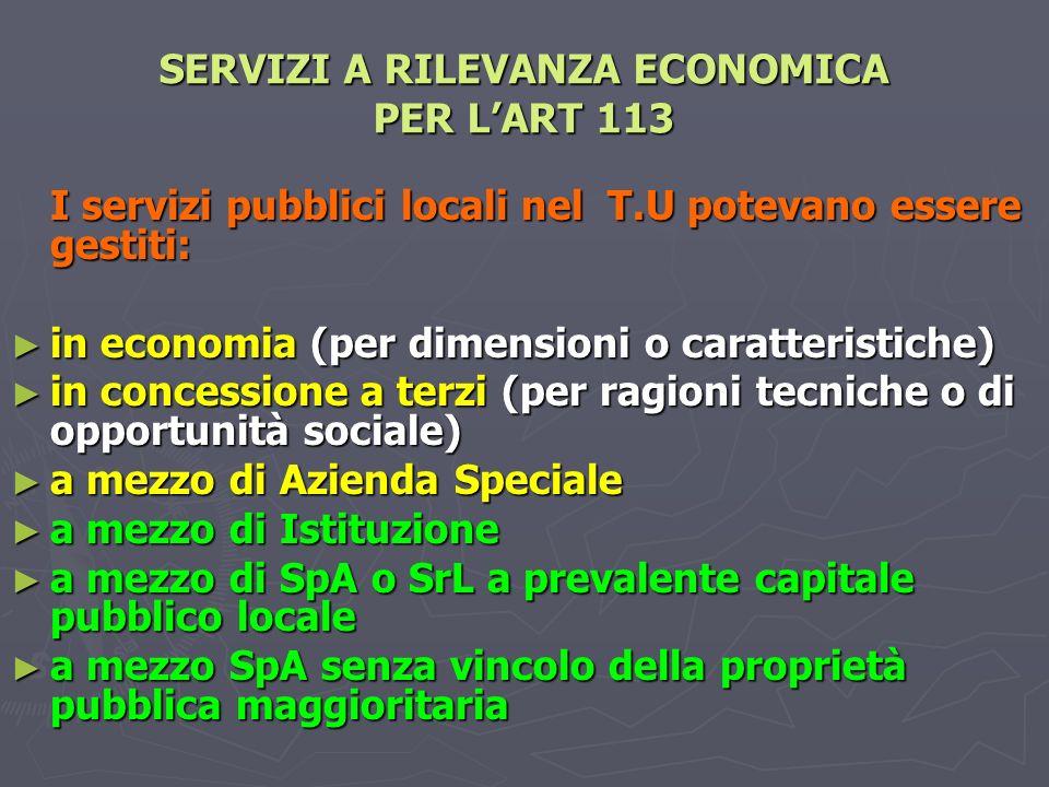 SERVIZI A RILEVANZA ECONOMICA PER L'ART 113