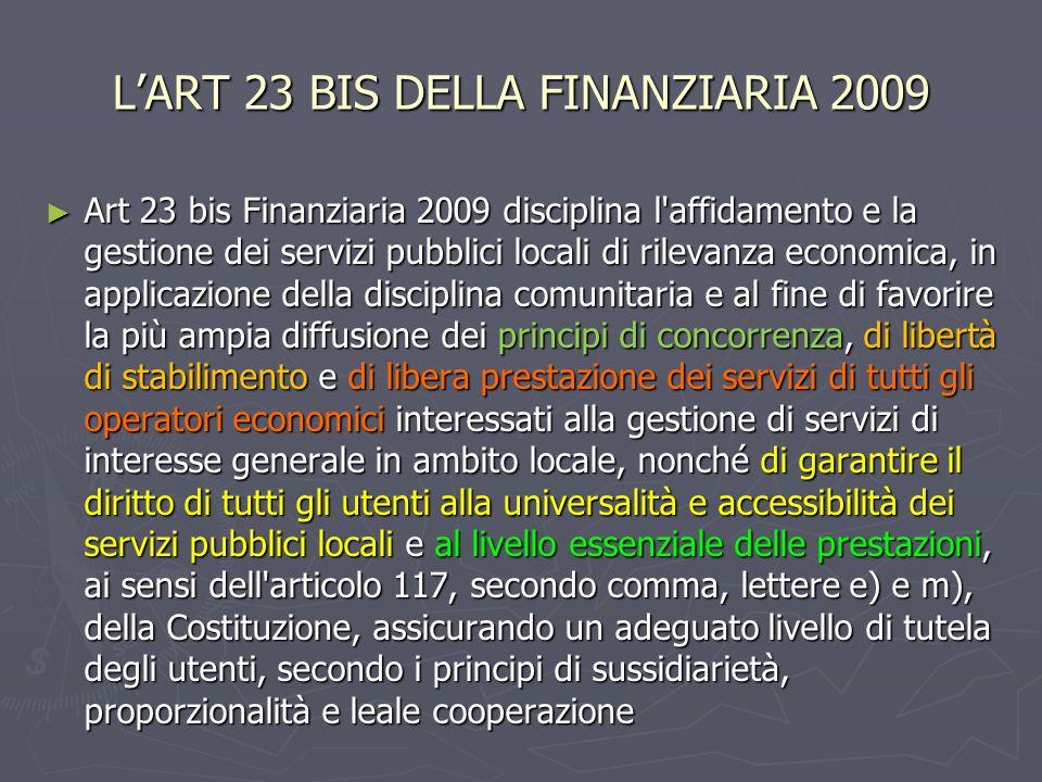 L'ART 23 BIS DELLA FINANZIARIA 2009
