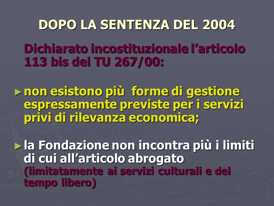 DOPO LA SENTENZA DEL 2004 Dichiarato incostituzionale l'articolo 113 bis del TU 267/00: