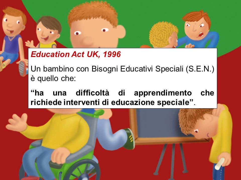 Education Act UK, 1996 Un bambino con Bisogni Educativi Speciali (S.E.N.) è quello che: