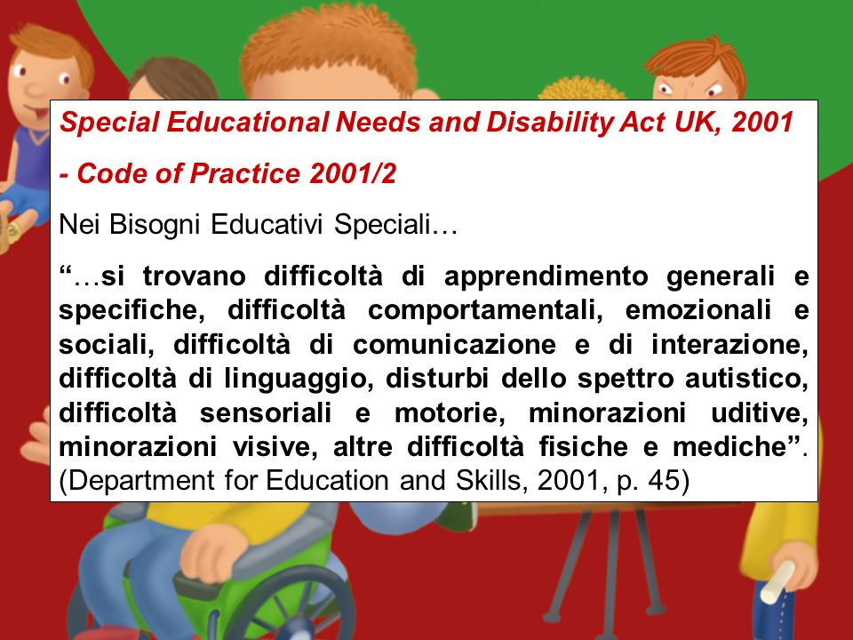 Special Educational Needs and Disability Act UK, 2001