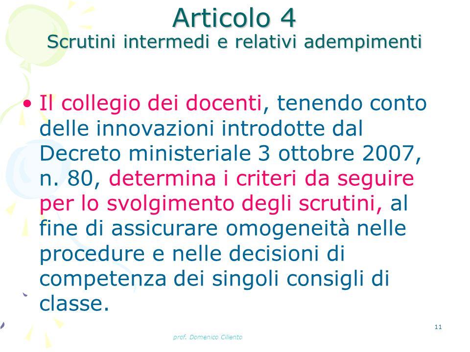 Articolo 4 Scrutini intermedi e relativi adempimenti