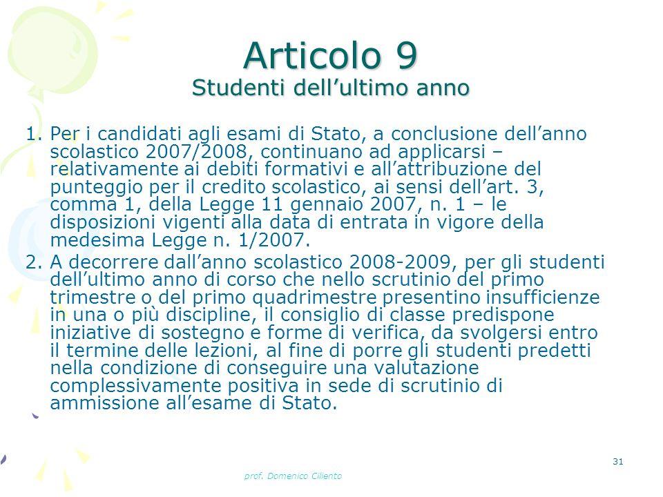 Articolo 9 Studenti dell'ultimo anno