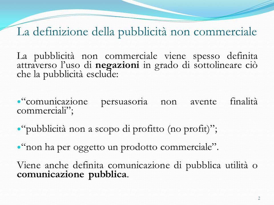 La definizione della pubblicità non commerciale