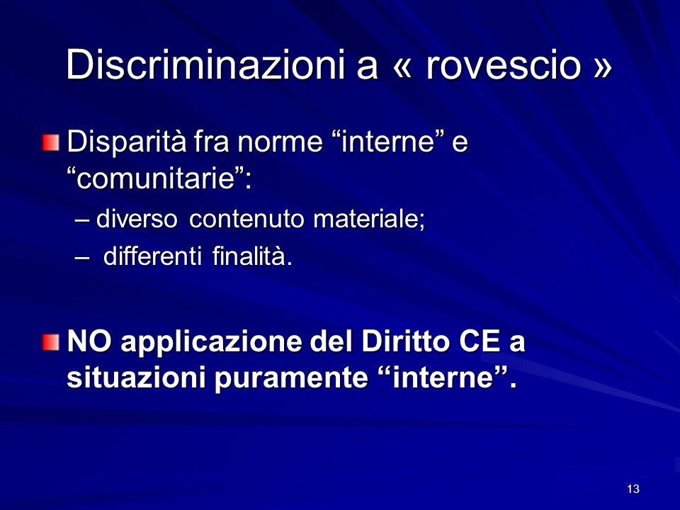 Discriminazioni a « rovescio »