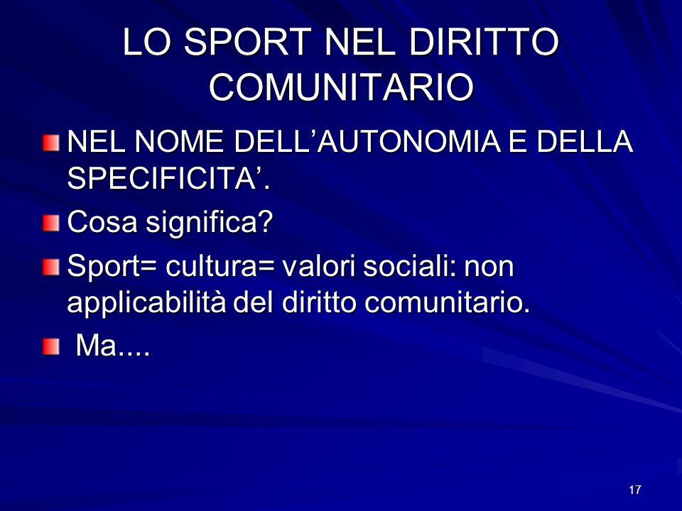 LO SPORT NEL DIRITTO COMUNITARIO
