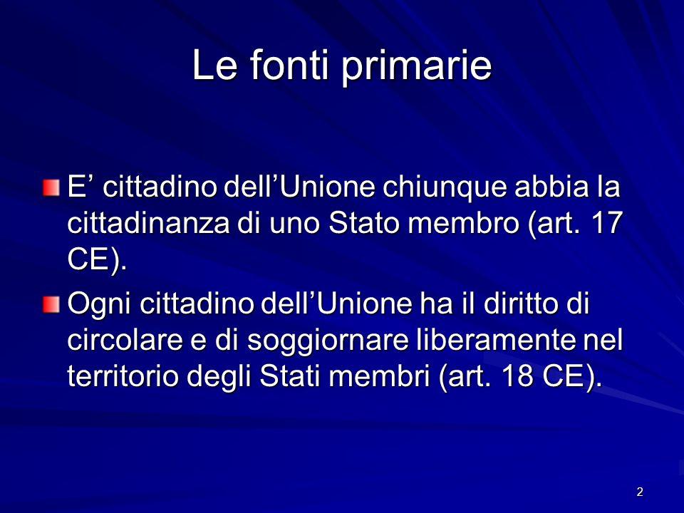 Le fonti primarie E' cittadino dell'Unione chiunque abbia la cittadinanza di uno Stato membro (art. 17 CE).