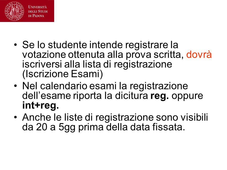 Se lo studente intende registrare la votazione ottenuta alla prova scritta, dovrà iscriversi alla lista di registrazione (Iscrizione Esami)