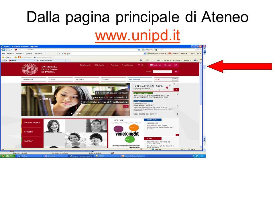Dalla pagina principale di Ateneo www.unipd.it