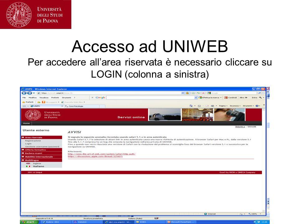 Accesso ad UNIWEB Per accedere all'area riservata è necessario cliccare su LOGIN (colonna a sinistra)