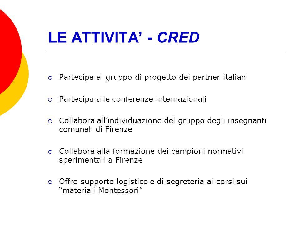 LE ATTIVITA' - CRED Partecipa al gruppo di progetto dei partner italiani. Partecipa alle conferenze internazionali.