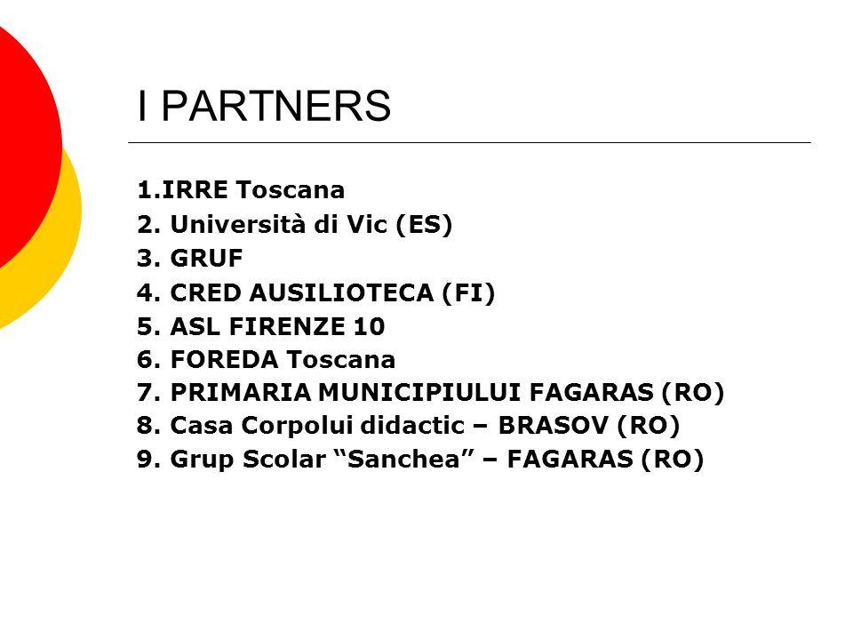 I PARTNERS 1.IRRE Toscana 2. Università di Vic (ES) 3. GRUF