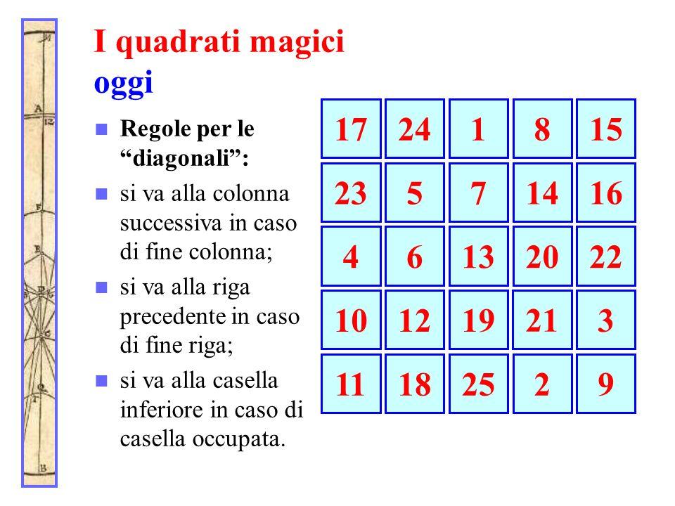 I quadrati magici oggi 17. 24. 1. 8. 15. Regole per le diagonali : si va alla colonna successiva in caso di fine colonna;