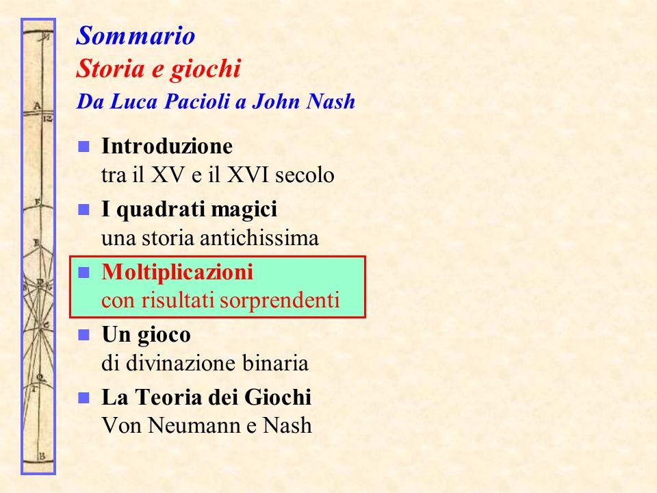 Sommario Storia e giochi Da Luca Pacioli a John Nash