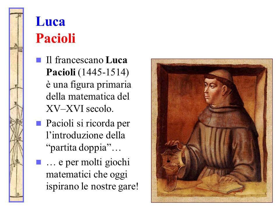 Luca PacioliIl francescano Luca Pacioli (1445-1514) è una figura primaria della matematica del XV–XVI secolo.