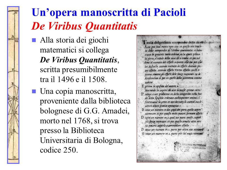 Un'opera manoscritta di Pacioli De Viribus Quantitatis
