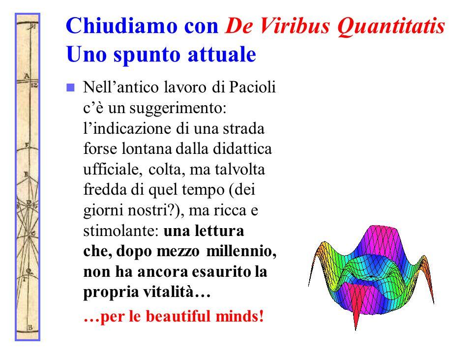 Chiudiamo con De Viribus Quantitatis Uno spunto attuale