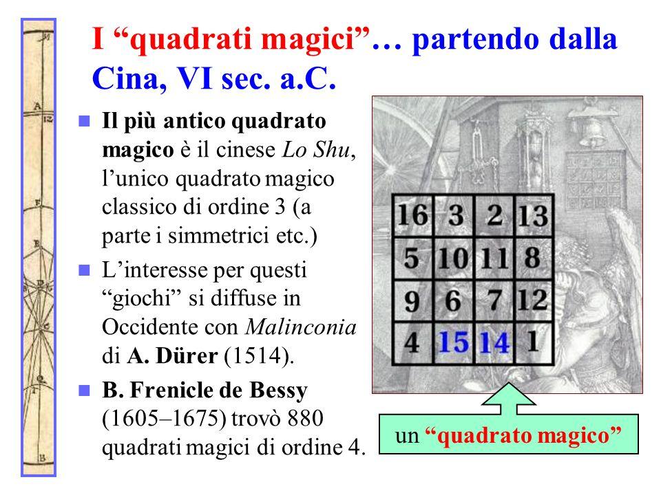 I quadrati magici … partendo dalla Cina, VI sec. a.C.