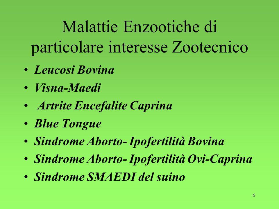 Malattie Enzootiche di particolare interesse Zootecnico